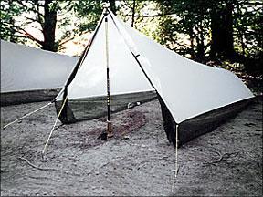 Adjustable trekking pole saves weight increases headroom. & Tarptent Virga Ultralight Shelter